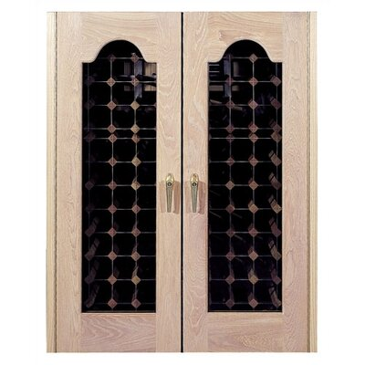 Provincial 2 Door Oak Wine Cooler With Beveled Oval Windows Wood Finish: Honey Rubbed Maple