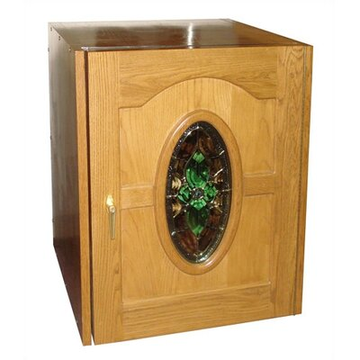 Napoleon Single Door Oak Wine Cooler With Beveled Oval Glass Window Wood Finish: Cherry