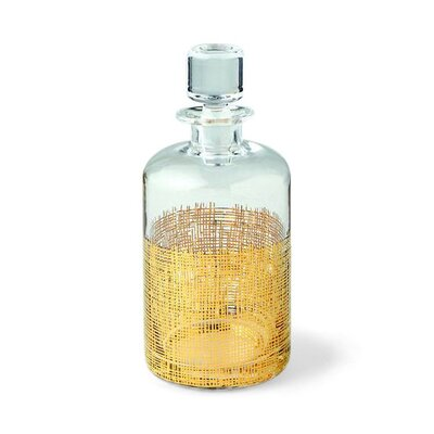 Crosshatch Cylinder Gold Decanter