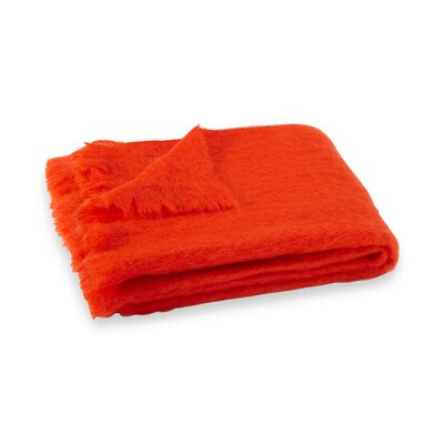 Brushed Mohair Throw Color: Hibiscus Orange