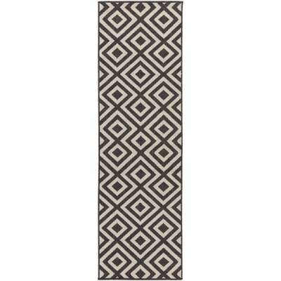 Alfresco Hand-Woven Black/Cream Outdoor Area Rug Rug Size: Runner 23 x 79