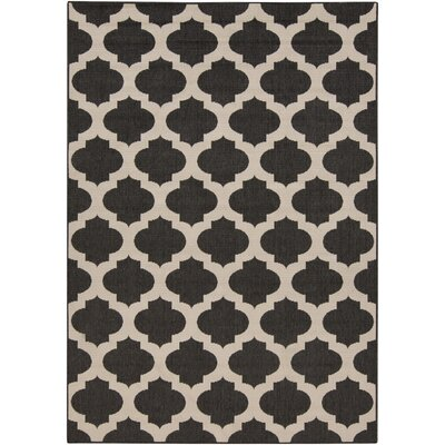 Modern Trellis Ink Outdoor Area Rug Rug Size: 76 x 53