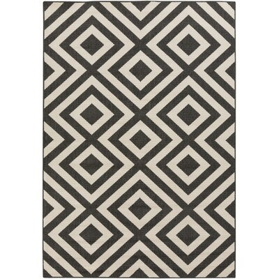 Alfresco Hand-Woven Black/Cream Outdoor Area Rug Rug Size: 76 x 53
