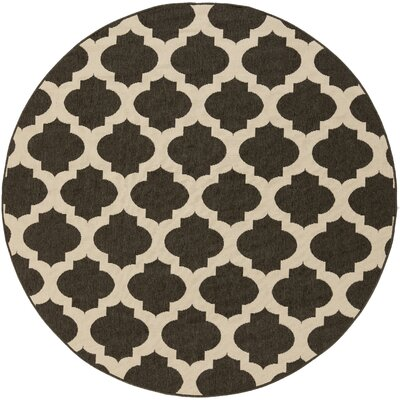 Modern Trellis Hand-Woven Ink Area Rug Rug Size: Round 89