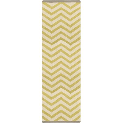 Chevron Chatreuse Hand Hooked Outdoor Area Rug Rug Size: Rectangle 8' x 2'6