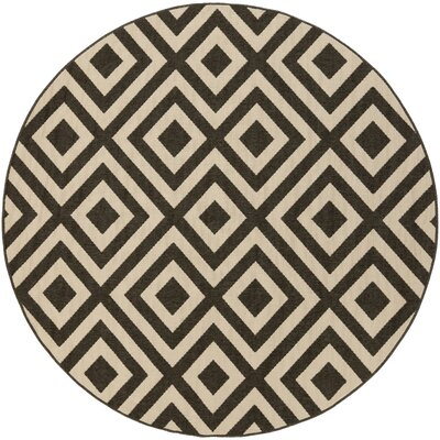 Hand-Woven Black/Cream Outdoor Area Rug Rug Size: Round 73