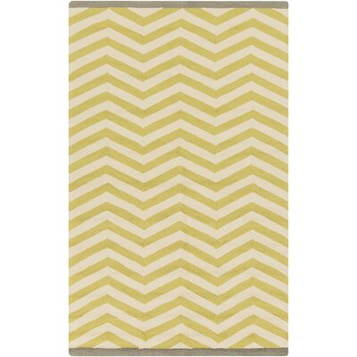 Chevron Chatreuse Hand Hooked Outdoor Area Rug Rug Size: Rectangle 12' x 9'