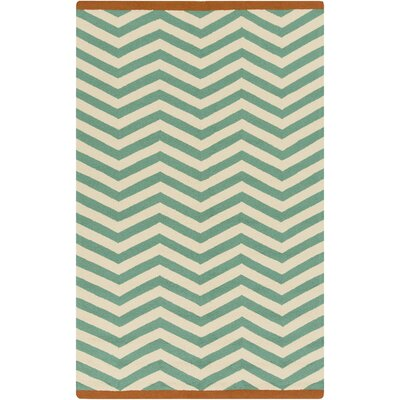 Chevron Jade Hand Hooked Outdoor Area Rug Rug Size: Rectangle 5 x 3