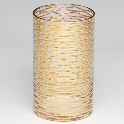 Gold Ribbons Glass Vase Size: 10 H x 6 W x 6 D image