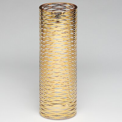 Gold Ribbons Glass Vase Size: 13.75 H X 4.75 W x 4.75 D