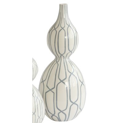 Linking Trellis Double Bulb Vase in Blue Size: 18.5 H x 7.5 W x 7.5 D