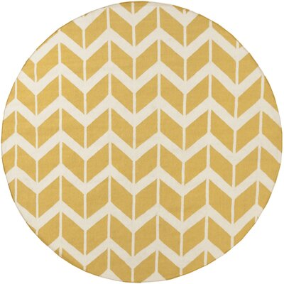 Arrow Hand-Woven Yellow and White Area Rug Rug Size: Round 8