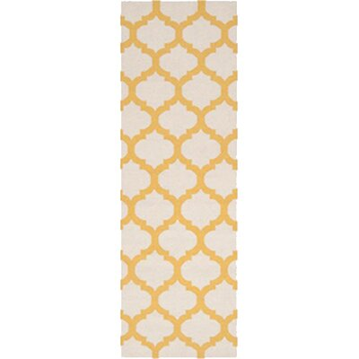 Hand Woven Wool Ivory/Yellow Area Rug Rug Size: Runner 26 x 8