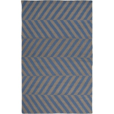 Offset Zag Hand-Woven Teal / Charcoal Area Rug Rug Size: Rectangle 2 x 3
