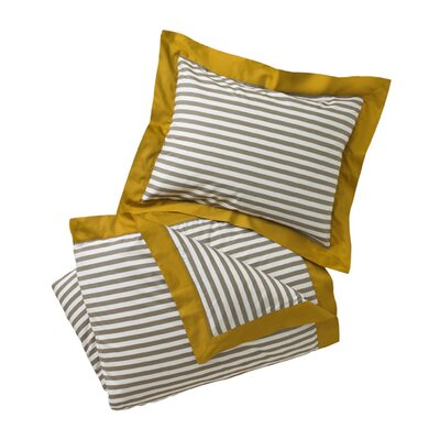 Draper Stripe Ash Duvet Cover Size: Full/Queen