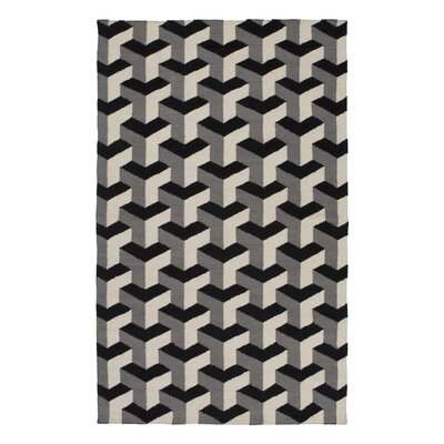 Handmade Black/Gray Area Rug Rug Size: Rectangle 4 x 6