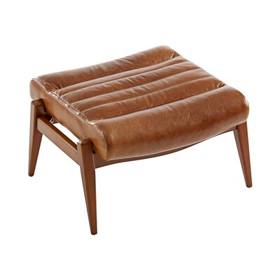 Hans Leather Ottoman Leg Finish: French Oak, Body Fabric: Steamboat Chestnut
