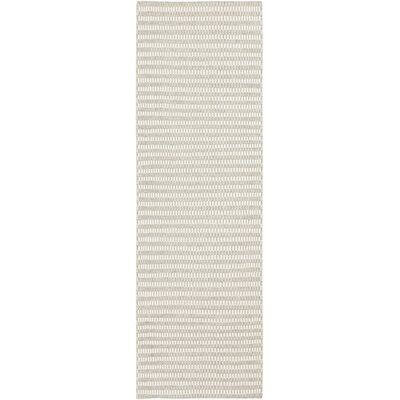 Ravena Feather Gray/Ivory Striped Rug Rug Size: Runner 26 x 8