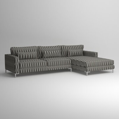 Spencer Right Chaise Sectional Fabric: Abby Charcoal, Finish: Chrome