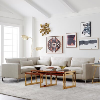 Spencer Corner Sectional Upholstery: Equinox Navy, Finish: Gold, Orientation: Left