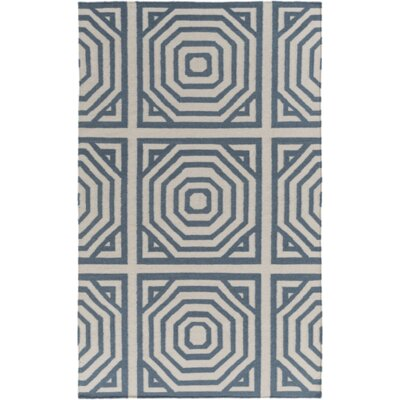 Parker Flatweave Peacock Hand-Woven Gray/Teal Area Rug Rug Size: Rectangle 5 x 76
