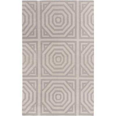 Hand Woven Cotton Gray Area Rug Rug Size: Rectangle 5 x 76