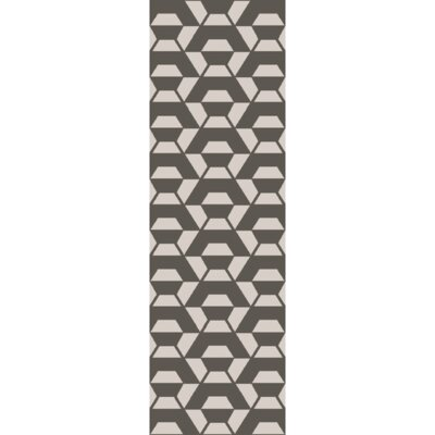 Callum Ink Hand-Tufted Wool Light Gray/Ivory Rug Rug Size: Runner 26 x 8