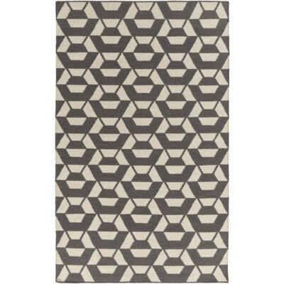 Callum Ink Hand-Tufted Wool Light Gray/Ivory Rug Rug Size: Rectangle 5 x 76