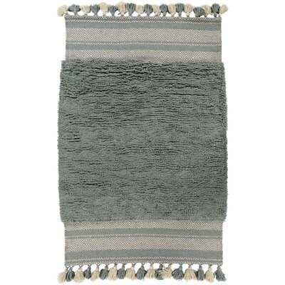 Gaines Hand Woven Cotton Teal Area Rug Rug size: Rectangle 5 x 76
