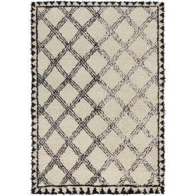 Riad Hand-Knotted Black/Ivory Area Rug Rug size: Rectangle 9 x 13