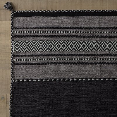 Hand Woven Gray/Black Area Rug Rug Size: Runner 26 x 8