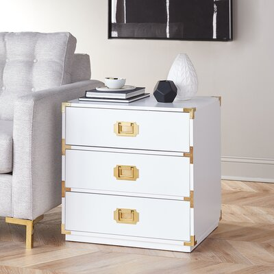 Loren End Table Color: White