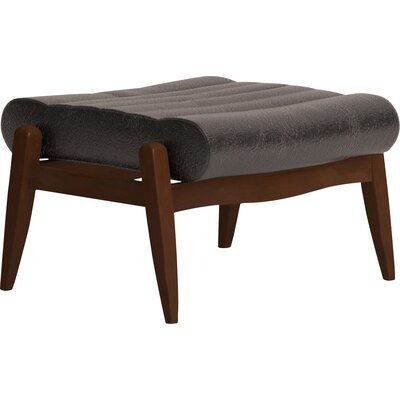 Hans Leather Ottoman Leg Finish: Black Walnut, Body Fabric: Vintage Ash