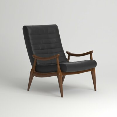 Hans Leather Armchair Body Fabric: Steamboat Driftwood, Leg Finish: French Oak