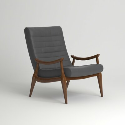 Hans Leather Arm Chair Finish: Black Walnut, Upholstery: Steamboat Driftwood