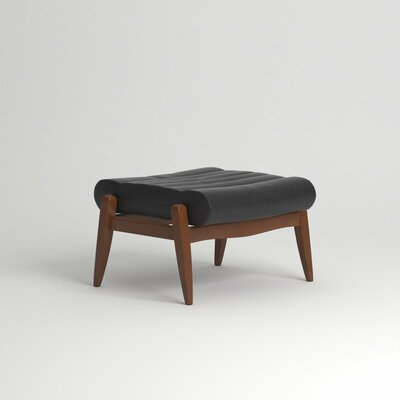 Hans Leather Ottoman Leg Finish: Black Walnut, Body Fabric: Steamboat Charcoal