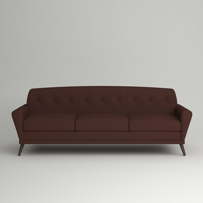 Marco Sofa Leg Finish: Black Walnut, Body Fabric: Zula Oxblood