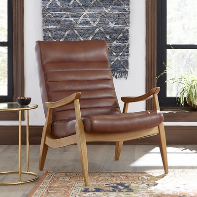 Hans Leather Armchair Leg Finish: French Oak, Body Fabric: Steamboat Chestnut