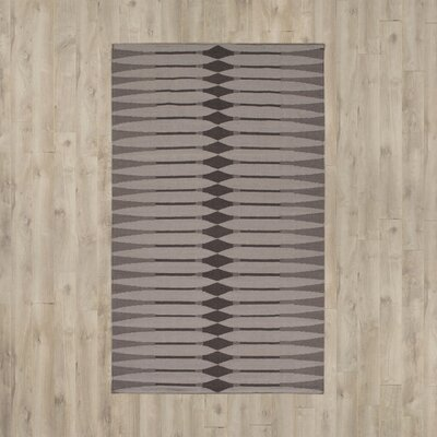 Hand Woven Cotton Brown/Gray Area Rug Rug Size: Rectangle 5 x 76