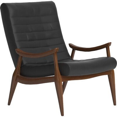 Hans Leather Armchair Body Fabric: Steamboat Charcoal, Leg Finish: Black Walnut