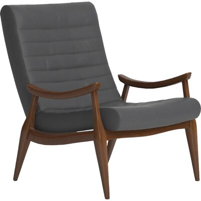Hans Leather Armchair Body Fabric: Vintage Flagstone, Leg Finish: French Oak