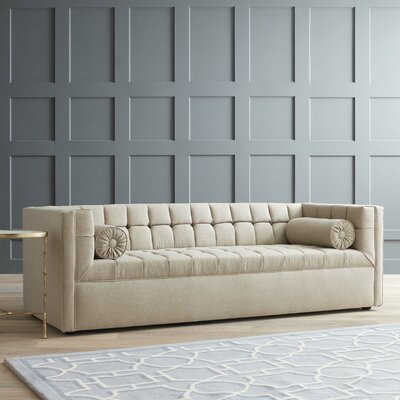 Langford Chesterfield Sofa Body Fabric: Zula Rawhide