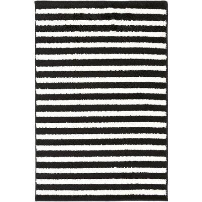 Petite Stripe Hand-Woven Slate/Pearl Area Rug Rug Size: 93 x 126