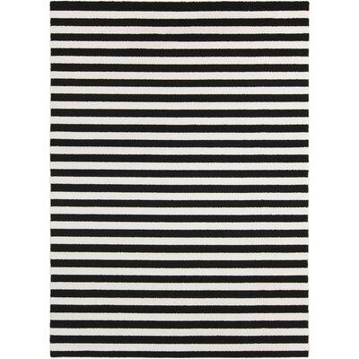 Petite Stripe Hand-Woven Slate/Pearl Area Rug Rug Size: 53 x 73