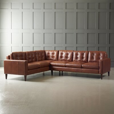 FLORENCE LEATHER L SECTIONAL Finish: French Oak, Upholstery: Steamboat Chestnut, Orientation: Left Hand Facing