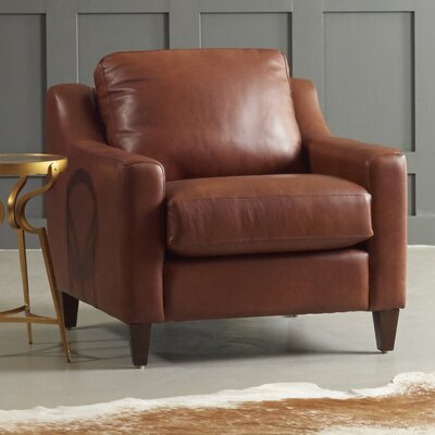 Jesper Armchair Body Fabric: Steamboat Chestnut, Leg Finish: Ebony
