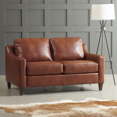 Jesper Leather Loveseat Body Fabric: Steamboat Driftwood, Leg Finish: Black Walnut