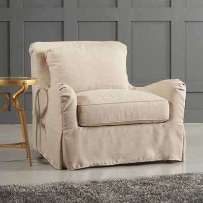 Arly Armchair Body Fabric: Bayou Stone, Leg Finish: Black Walnut
