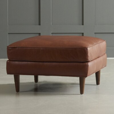 Carson Leather Ottoman Leg Finish: Black Walnut, Body Fabric: Vintage Ash