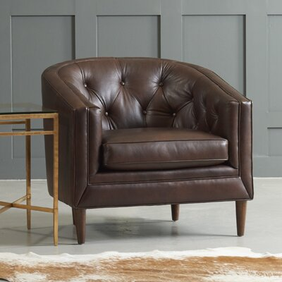 Bedford Barrel Chair Body Fabric: Steamboat Chestnut, Leg Finish: Ebony